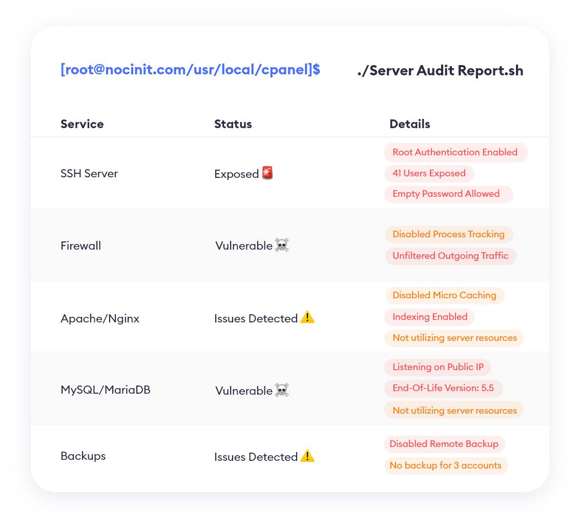 Server audit report for a new cPanel Server Management client